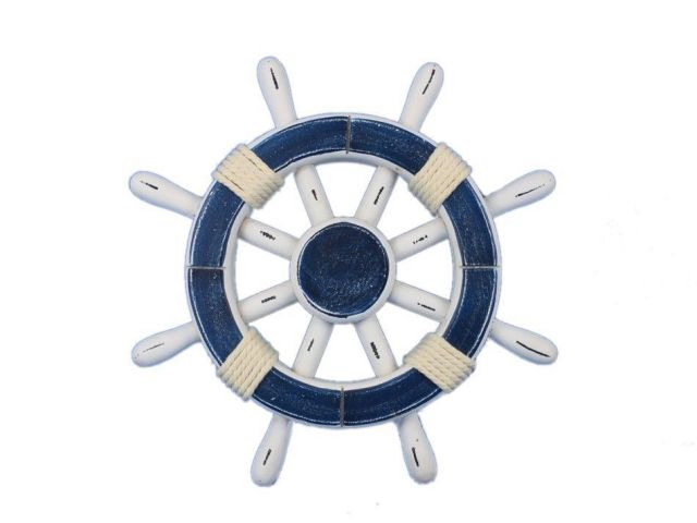 Rustic Dark Blue and White Decorative Ship Wheel 12