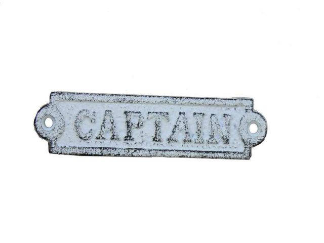 Whitewashed Cast Iron Captain Sign 6