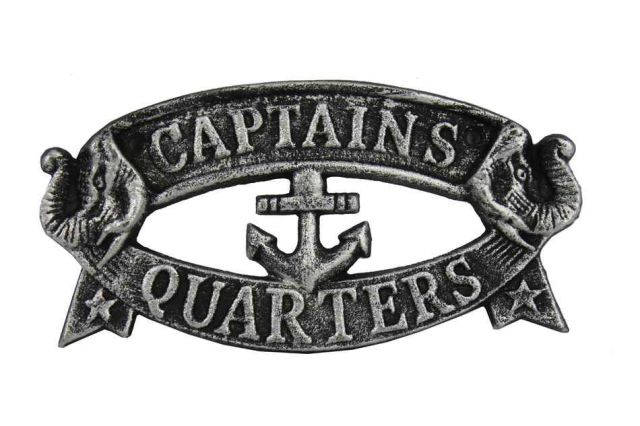Antique Silver Cast Iron Captains Quarters Sign 8