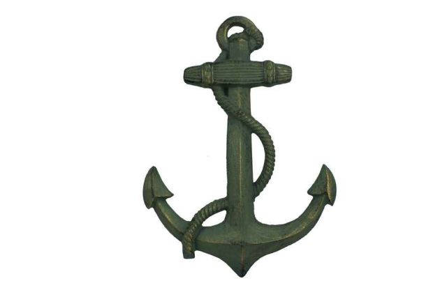 Antique Seaworn Bronze Cast Iron Anchor 17