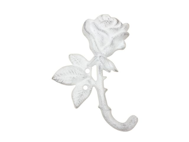 Whitewashed Cast Iron Long Stem Rose Decorative Metal Wall Hook 5.5