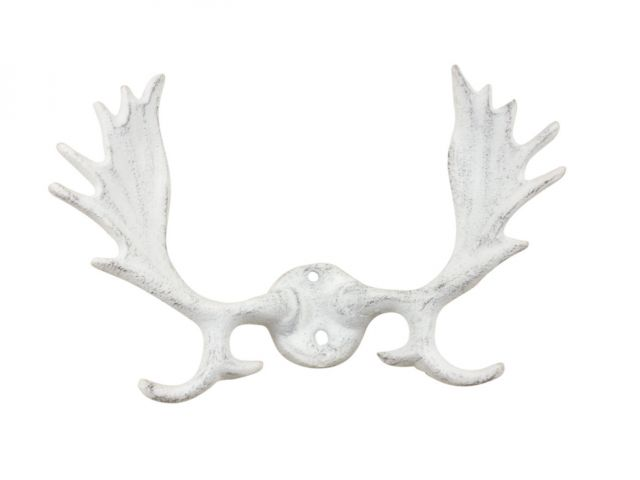 Whitewashed Cast Iron Moose Antlers Decorative Metal Wall Hooks 9