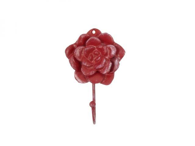 Red Whitewashed Cast Iron Decorative Rose Hook 7