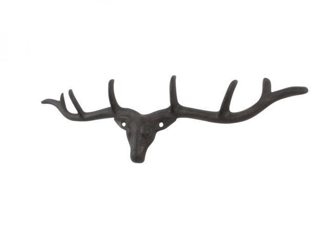 Cast Iron Large Deer Head Antlers Decorative Metal Wall Hooks 15