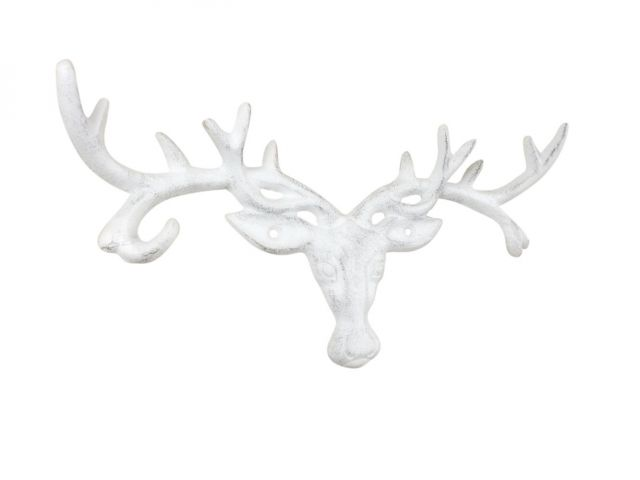 Whitewashed Cast Iron Deer Head Antlers Decorative Metal Wall Hooks 13