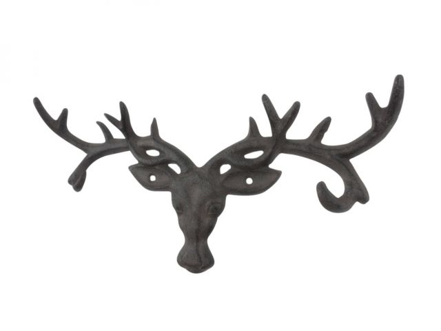 Cast Iron Deer Head Antlers Decorative Metal Wall Hooks 13