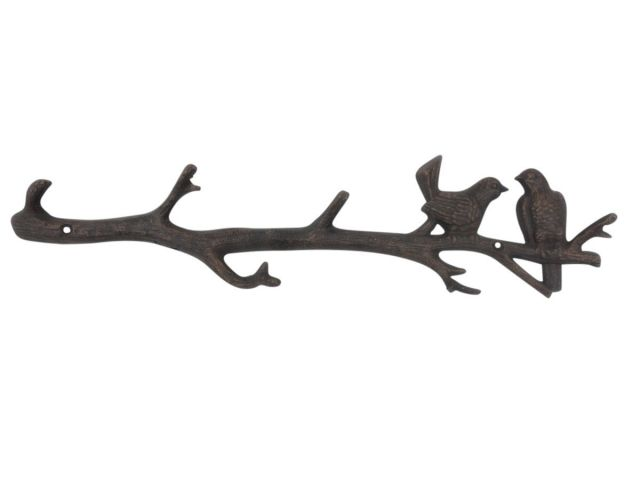 Rustic Copper Cast Iron Love Birds on a Tree Branch Decorative Metal Wall Hooks 19