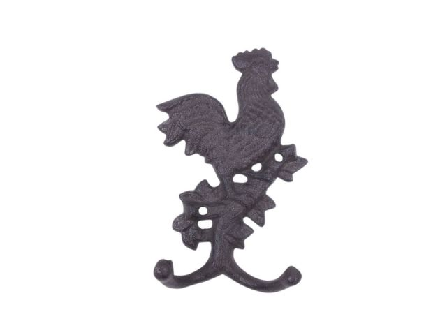 Cast Iron Rooster on a Branch Decorative Metal Wall Hook 9