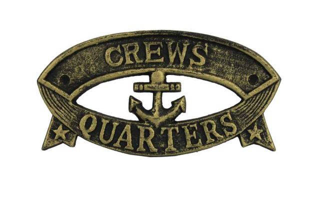 Antique Gold Cast Iron Crews Quarters Sign 8