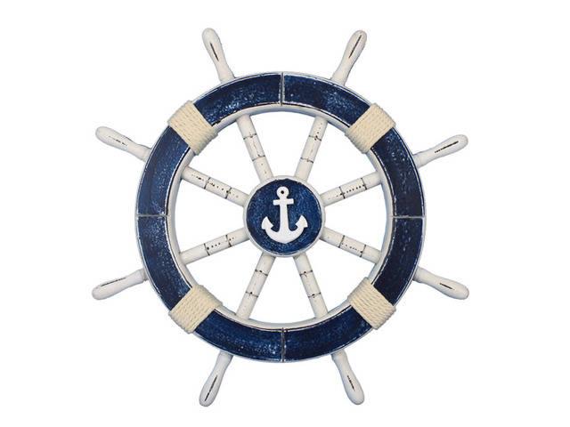 Rustic Dark Blue Decorative Ship Wheel with Anchor 18