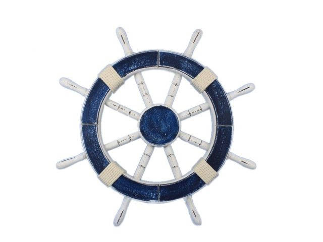 Rustic Dark Blue Decorative Ship Wheel 18