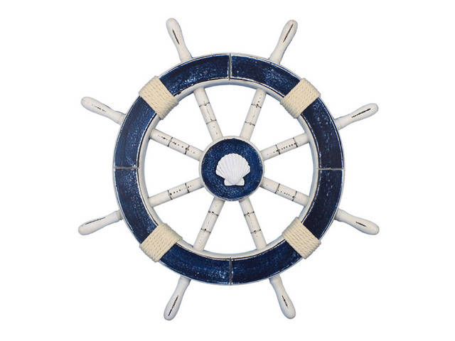Rustic Dark Blue Decorative Ship Wheel with Seashell 18