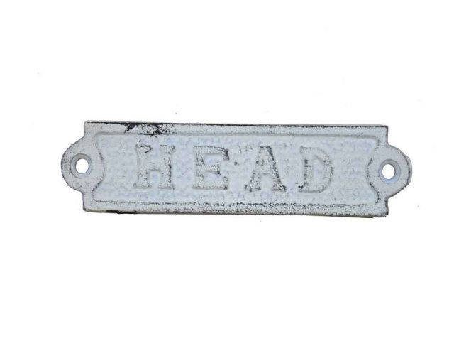 Whitewashed Cast Iron Head Sign 6