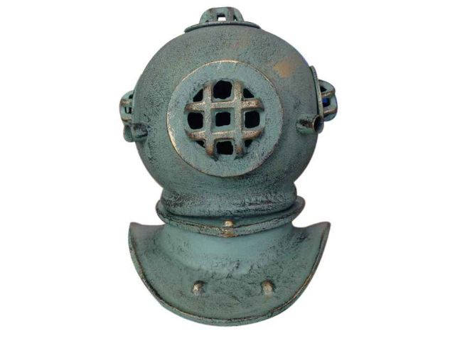 Antique Seaworn Bronze Cast Iron Decorative Divers Helmet 9