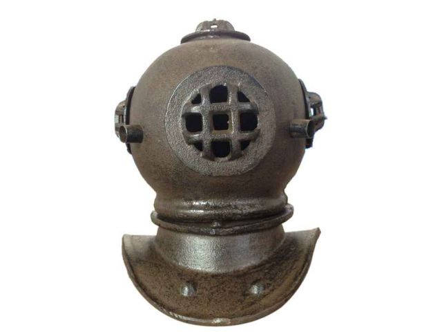 Rustic Cast Iron Decorative Divers Helmet 9