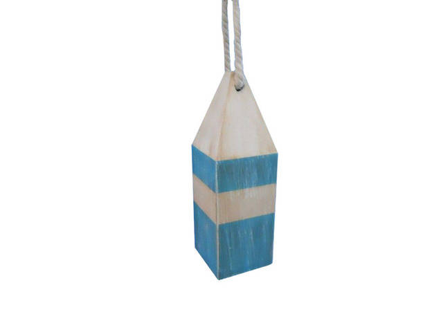 Wooden Rustic Light Blue Chesapeake Bay Decorative Crab Trap Buoy 8
