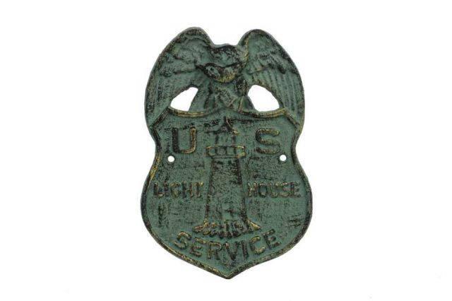 Antique Seaworn Bronze Cast Iron US Lighthouse Service Sign 9
