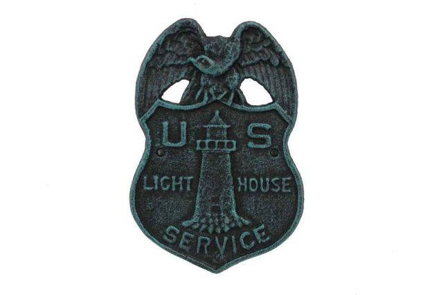 Seaworn Blue Cast Iron US Lighthouse Service Sign 9