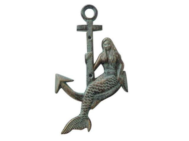 Antique Seaworn Bronze Cast Iron Mermaid Anchor 9
