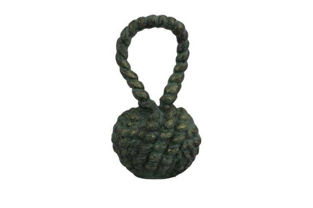 Antique Seaworn Bronze Cast Iron Sailors Knot Door Stopper 10