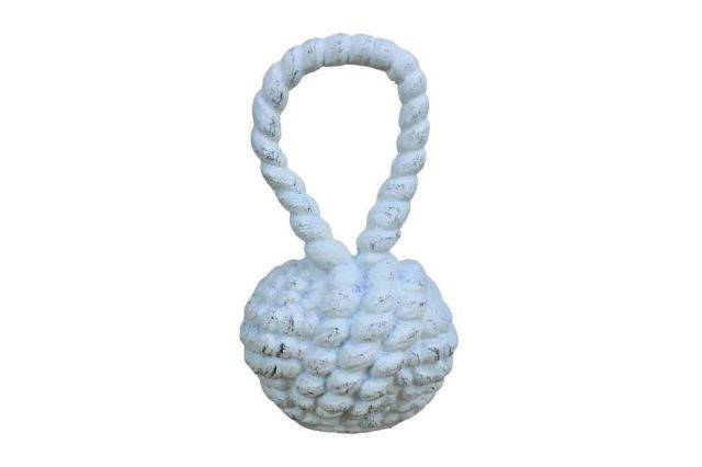 Whitewashed Cast Iron Sailors Knot Door Stopper 10