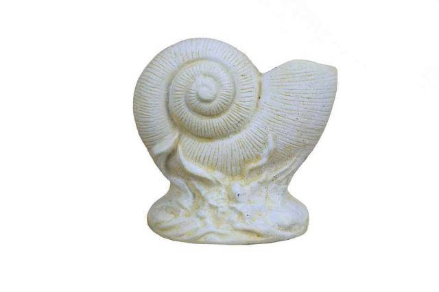 Antique White Cast Iron Nautilus Shell Door Stopper 8