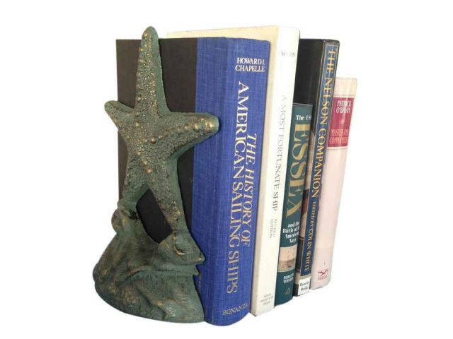 Set of 2- Antique Seaworn Bronze Cast Iron Starfish Book Ends 11