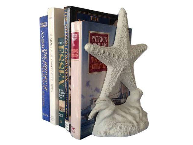 Set of 2- Whitewashed Cast Iron Starfish Book Ends 11