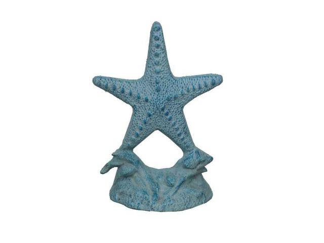 Light Blue Whitewashed Cast Iron Starfish Door Stopper 11