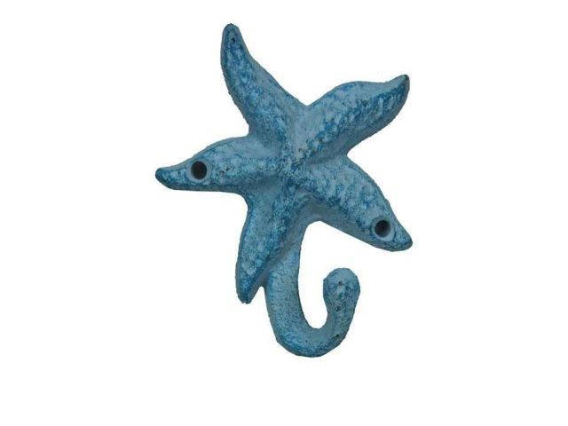 Dark Blue Whitewashed Cast Iron Starfish Hook 4