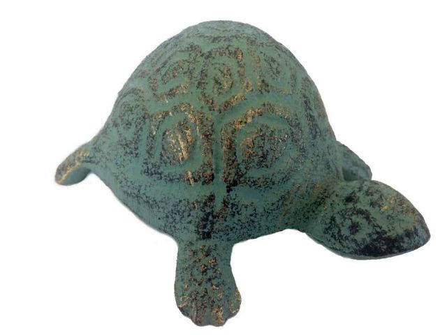 Antique Seaworn Bronze Cast Iron Turtle Paperweight 5