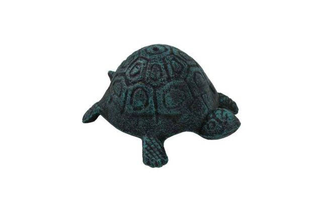 Seaworn Blue Cast Iron Turtle Paperweight 5