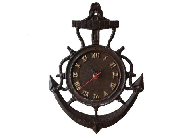 Rustic Cast Iron Vintage Anchor Clock 12