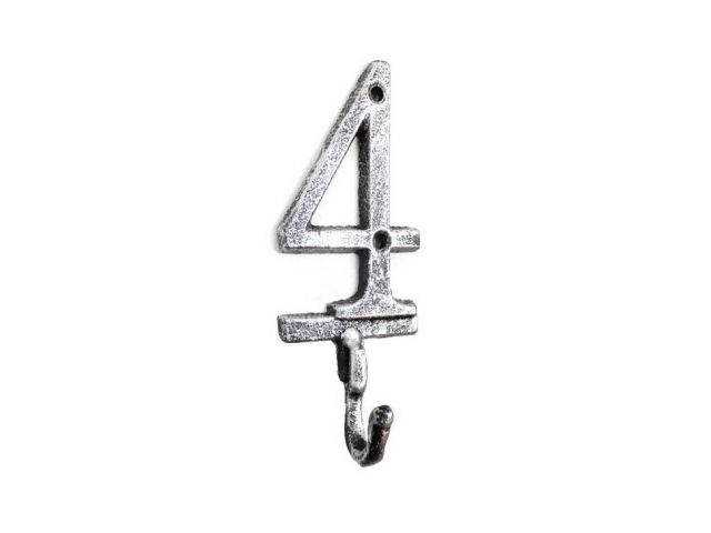 Rustic Silver Cast Iron Number 4 Wall Hook 6