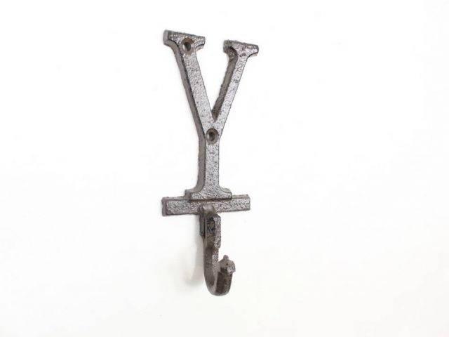 Cast Iron Letter Y Alphabet Wall Hook 6