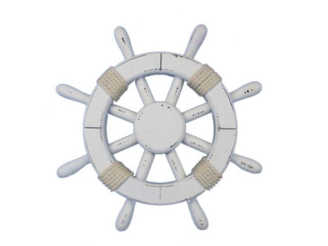Rustic White Decorative Ship Wheel 12