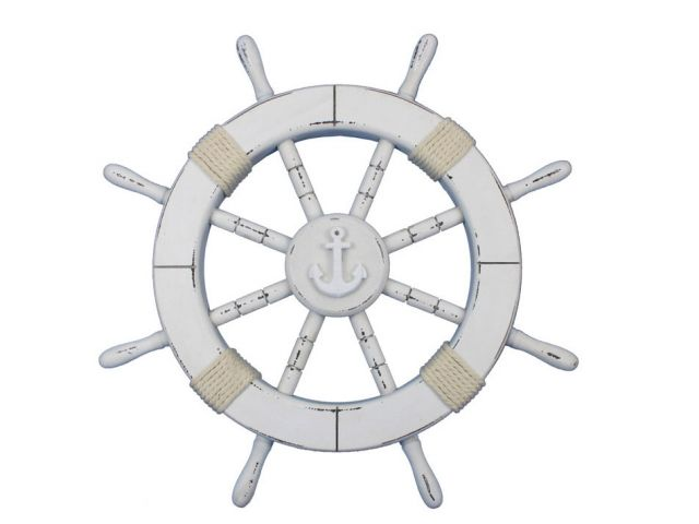 Rustic White Decorative Ship Wheel with Anchor 18