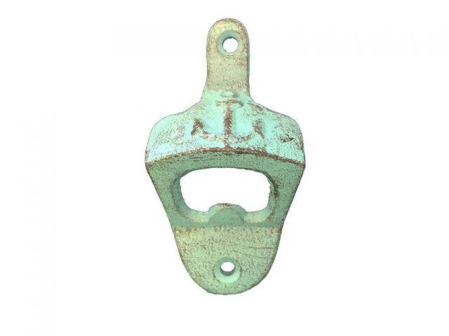 Rustic Light Blue Cast Iron Wall Mounted Anchor Bottle Opener 3