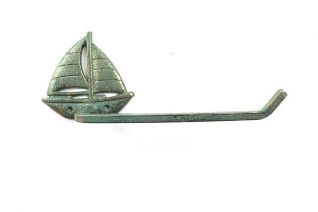 Antique Seaworn Bronze Cast Iron Sailboat Toilet Paper Holder 11