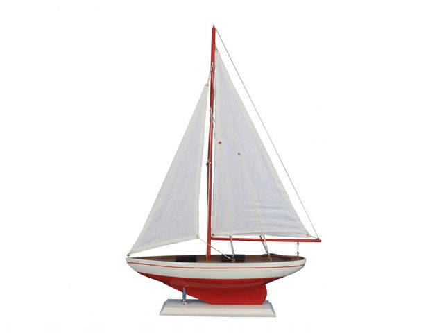 Wooden Red Pacific Sailer Model Sailboat Decoration 25