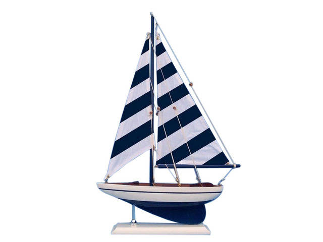 Wooden Blue Striped Pacific Sailer Model Sailboat Decoration 17