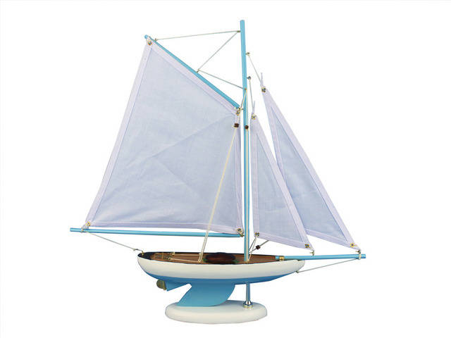 Wooden Bermuda Sloop Light Blue Model Sailboat Decoration 17