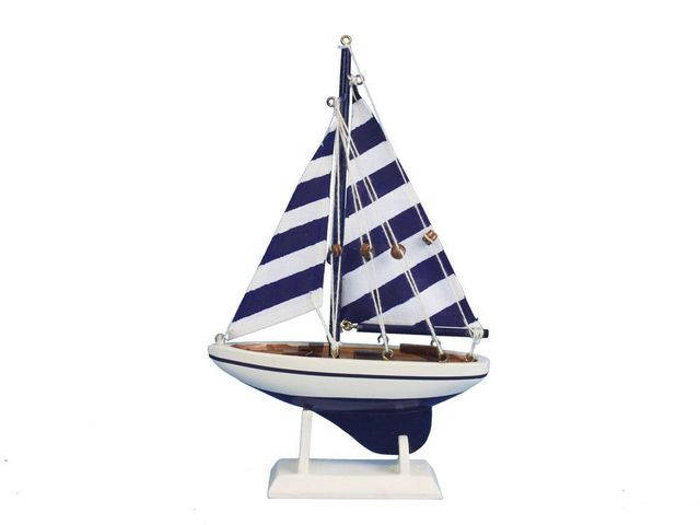 Wooden Blue Striped Pacific Sailer Model Sailboat Decoration 9