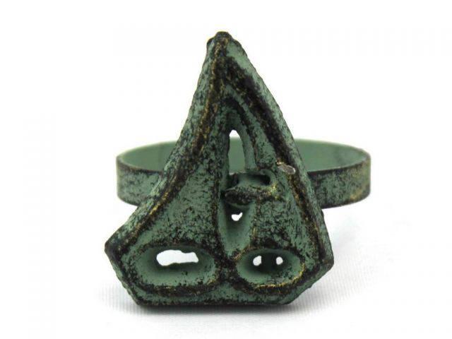 Antique Bronze Cast Iron Sailboat Napkin Ring 2 - set of 2