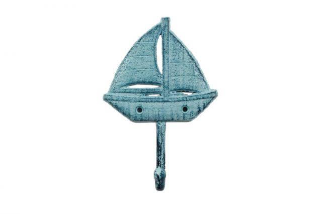 Rustic Dark Blue Whitewashed Cast Iron Sailboat Wall Hook 7