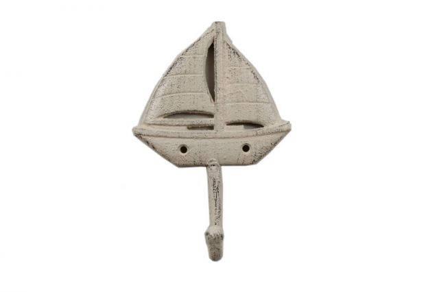 Whitewashed Cast Iron Sailboat Wall Hook 7