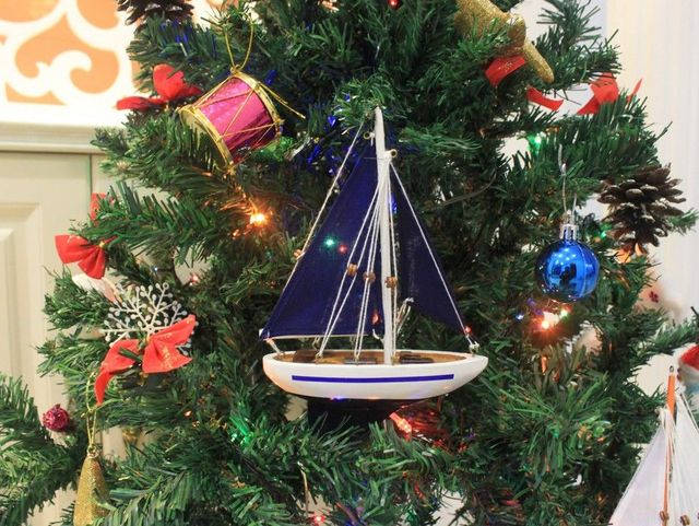 Wooden Blue Sailboat with Blue Sails Christmas Tree Ornament 9