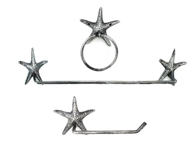 Antique Silver Cast Iron Starfish Bathroom Set of 3 - Large Bath Towel Holder and Towel Ring and Toilet Paper Holder