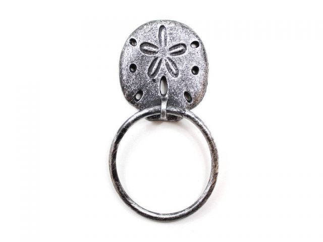 Rustic Silver Cast Iron Sand Dollar Towel Holder 8