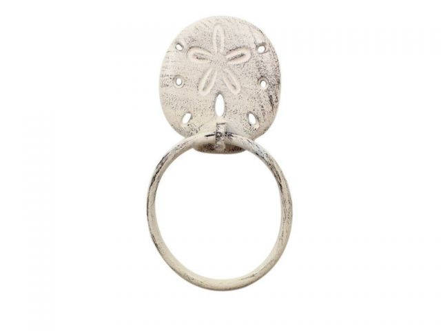 Whitewashed Cast Iron Sand Dollar Towel Holder 8